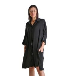 Φόρεμα μαύρο oversized με τσέπες