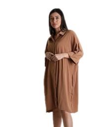 Φόρεμα κάμελ oversized με τσέπες
