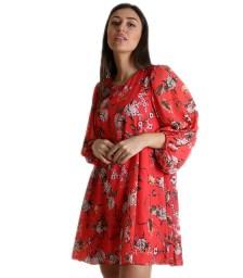 Φόρεμα φλοράλ με κουμπί στο πίσω μέρος (Κόκκινο)