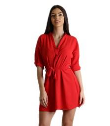 Κόκκινο φόρεμα με πατ μανικιών και ζώνη