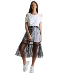 Σετ φόρεμα - φούστα με ζώνη (Λευκό)
