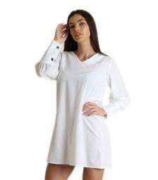 Σατέν φόρεμα με κουμπιά στο πίσω μέρος (Λευκό)