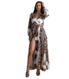 Φόρεμα μάξι κρουαζέ με ζώνη εμπριμέ (Λευκό)