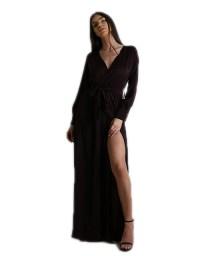 Μάξι φόρεμα κρουαζέ σατέν με ζώνη (Σκούρο Μπορντό)