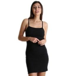 Φόρεμα πλεκτό με επένδυση και τιράντες (Μαύρο)