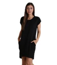 Κοντομάνικο φόρεμα με τσέπες (Μαύρο)
