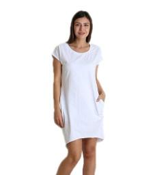 Κοντομάνικο φόρεμα με τσέπες (Λευκό)