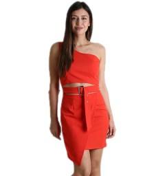 Κόκκινο φόρεμα με κρυφό φερμουάρ και ρυθμιζόμενο λουράκι