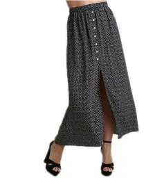 Πουά φούστα με κουμπιά (Μαύρο)