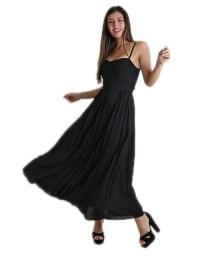 Φόρεμα μάξι πλισέ με επένδυση (Μαύρο)