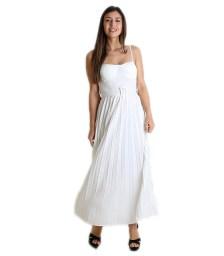 Φόρεμα μάξι πλισέ με επένδυση (Λευκό)