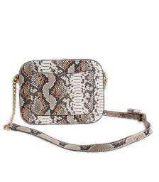 Τσαντάκι ώμου φίδι χιαστή με φερμουάρ και λουράκι (Μπεζ)