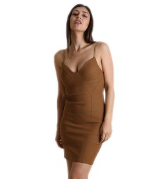 Καφέ μίνι φόρεμα με επένδυση και ρυθμιζόμενες τιράντες