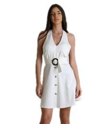Φόρεμα εξώπλατο με κουμπιά (Λευκό)