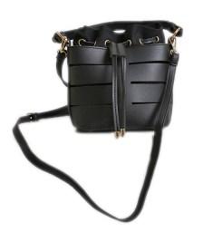 Τσάντα πουγκί με χρυσές λεπτομέρειες (Μαύρο)