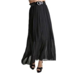 Φούστα πλισέ μάξι με εσωτερική φόρδρα και ζώνη (Μαύρο)
