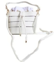 Τσάντα πουγκί με χρυσές λεπτομέρειες (Λευκό)
