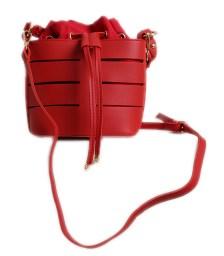 Τσάντα πουγκί με χρυσές λεπτομέρειες (Κόκκινο)