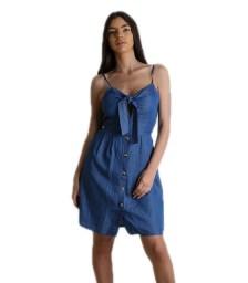 Φόρεμα τζιν με δέσιμο στο στήθος και κουμπιά (Σκούρο μπλε)