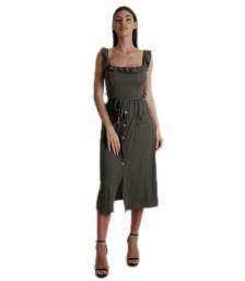 Φόρεμα midi με επένδυση και τσέπες (Χακί)