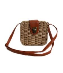 Τετράγωνη τσάντα ψάθινη με κούμπωμα (Μπεζ)