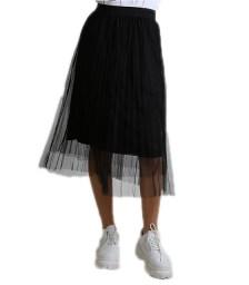 Φούστα μάξι πλισέ τούλι (Μαύρο)
