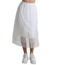 Φούστα μάξι πλισέ τούλι (Λευκό)