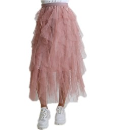 Φούστα tutu με βολάν και λάστιχο (Ροζ)