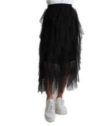 Φούστα tutu με βολάν και λάστιχο (Μαύρο)