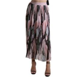 Φούστα πλισέ με λάστιχο και εμπριμέ σχέδιο (Ροζ)
