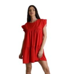Φόρεμα με βολάν και κουμπί στο πίσω μέρος (Κόκκινο)