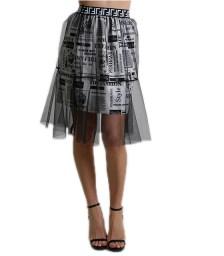 Φούστα με λάστιχο και τούλι (Μαύρο)