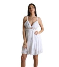 Φόρεμα με δαντέλα και ρυθμιζόμενες τιράντες (Λευκό)