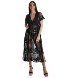 Μαύρο φόρεμα δαντέλα διαφάνεια
