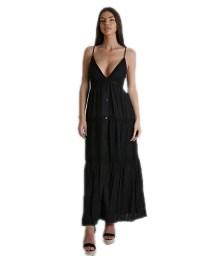 Φόρεμα μάξι δαντέλα με κουμπιά (Μαύρο)