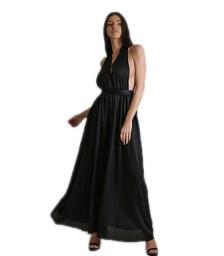 Φόρεμα σατέν μάξι πολυμορφικό (Μαύρο)