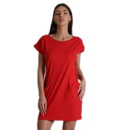 Φόρεμα κοντομάνικο με τσέπες (Κόκκινο)