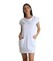 Φόρεμα κοντομάνικο με τσέπες (Λευκό)