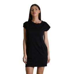 Φόρεμα κοντομάνικο με τσέπες (Μαύρο)
