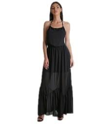 Φόρεμα μάξι εξώπλατο με δέσιμο (Μαύρο)
