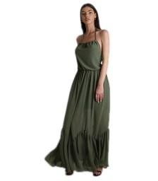 Φόρεμα μάξι εξώπλατο με δέσιμο (Χακί)