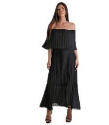 Μάξι φόρεμα πλισέ bardot (Μάυρο)