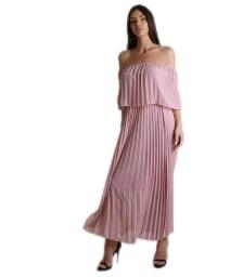 Μάξι φόρεμα πλισέ bardot (Ροζ)