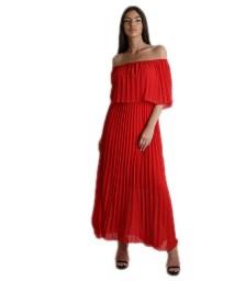 Μάξι φόρεμα πλισέ bardot (Κόκκινο)
