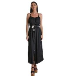 Φόρεμα μάξι τιράντα με κουμπιά (Μαύρο)