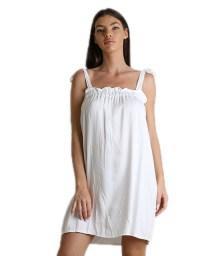 Μίνι φόρεμα με δέσιμο στους ώμους (Λευκό)