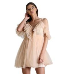 Μίνι φόρεμα με τούλι (Ροζ)