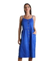 Φόρεμα midi με κουμπιά (Μπλε)