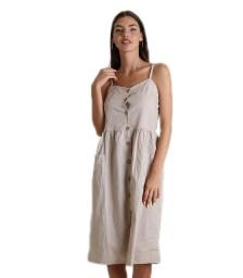 Φόρεμα midi με κουμπιά (Μπεζ)