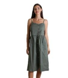 Φόρεμα midi με κουμπιά (Χακί)